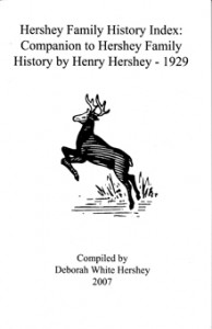 Hershey Family History Index for Sale $15.00